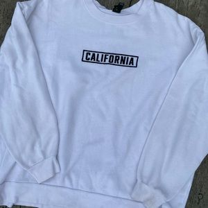 White crew neck sweatshirt
